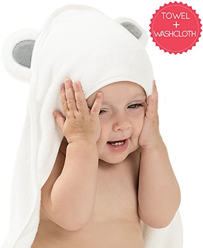 Organic Bamboo Baby Hooded Towel Set - Bonus Washcloth - Pre
