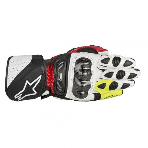 Alpinestars SP-1 Men's Leather Road Race Motorcycle Gloves - Black/Red/Flourescent Yellow / 3X-Large