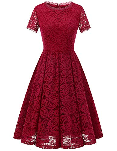 DRESSTELLS Women's Bridesmaid Vintage Tea Dress Floral Lace Cocktail Formal Swing Dress DarkRed S