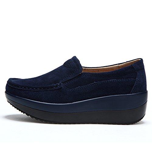 Chaussures Femmes Casuel Mocassins Z Loafers suo Suède 2 Confort Bleu WwxaWTAnS