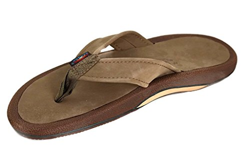 Rainbow Sandals Men's Navigator Premier Leather Orthopedic Foot Bed w/Tapered Strap, Dark Brown, Men's 8 D(M) US