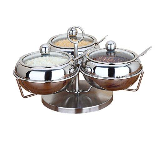 Spice Box 304 Set de Frasco de Ajo de Acero Inoxidable Cocina de Azúcar de Sal para el Hogar, Tanque de Aceite de Cocina...