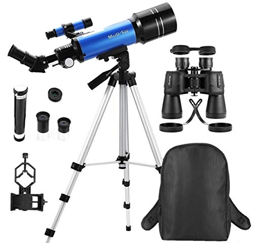 MaxUSee Travel Scope with Backpack - 70mm Refractor Telescope & 10X50 Full-size Binoculars for Moon Viewing Bird Watching Sightseeing