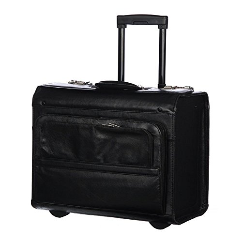 Rolling Catalog/Litigator Briefcase, Leather Carriage Bag, Business Softside Type, Dual Combination Locking, Solid Pattern Telescopic, Locking Handle System Leather Carrying Handle Inline Skate ()