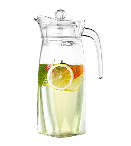 JANRON Glass Teapot 100% Lead-Free Transparent Water Pitcher Jug Ideal for Fruit Tea Container and Blooming Glass Kettle, for Hot and Iced Tea Water Juice Beverage - 1.3L
