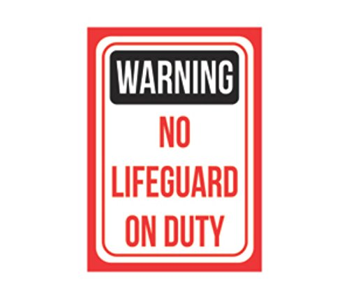 Warning No Lifegaurd On Duty Print Black Red White Picture Symbol Poster Pool Swimming Public Safety Notice Sign