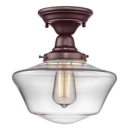 (10-inch Clear Glass Schoolhouse Semi-Flush Ceiling Light in Bronze Finish)