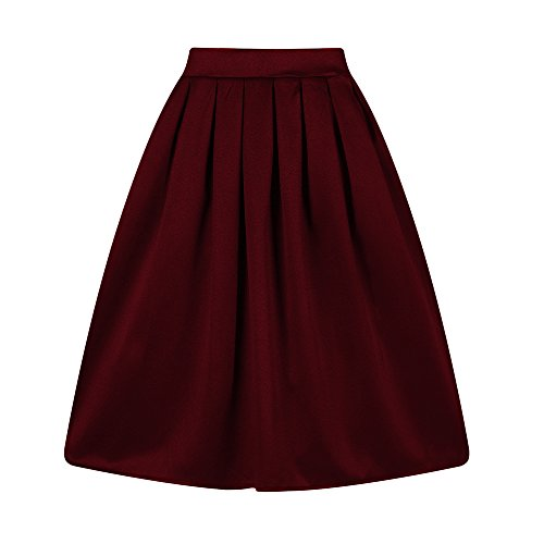 Taydey A-Line Pleated Vintage Skirts for Women (XL, Burgundy)]()