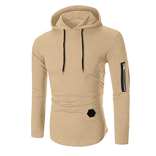 Sunhusing Men Long Sleeve T-Shirt Striped Round Neck Zip-Fitting T-Shirt Hooded Blouse