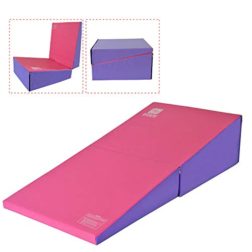 ikonmotorsports Modern-DEPO Gymnastics Wedge Mats Folding for Tumbling   60″ X 30″ X 14″ Incline Mat Cheese Wedge with Zip Fastener, Waterproof Vinyl Cover, EPE Foam( Pink and Purple
