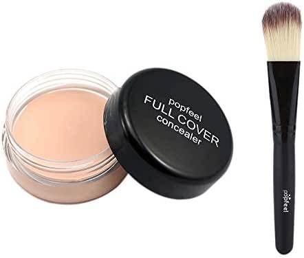 XEDUO popfeel 2pcs Makeup Foundation Base Nude Face Liquid Cover Concealer + Wooden Foundation Brush Cosmetic for women girls (FC01)