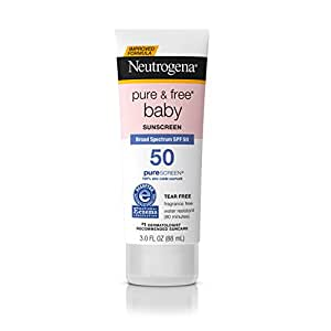 Neutrogena Pure & Free Baby Mineral Sunscreen Broad Spectrum SPF 50, 3 Fl. Oz. (Pack of 3)