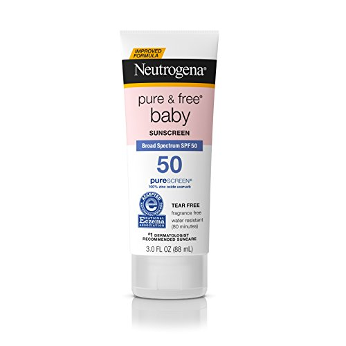 Neutrogena Pure & Free Baby Mineral Sunscreen Lotion with Broad Spectrum SPF 50 & Zinc Oxide, Water-Resistant, Hypoallergenic & Tear-Free Baby Sunscreen, 3 fl. Oz (Pack of 3)