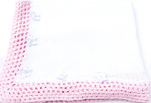 knitted-crochet-finished-white-cotton-pink-trim-blanket-with-whit-pearl-flowers