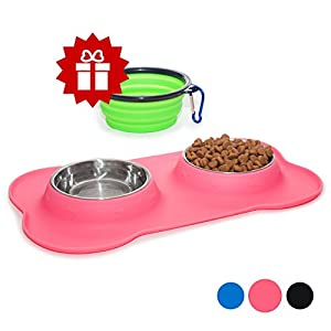 KEKS Small Dog Bowls Set of 2 Stainless Steel Bowls with Non-Skid & No Spill Silicone Pink Stand for Small Dogs Cats Puppy & Collapsible Travel Pet Bowl