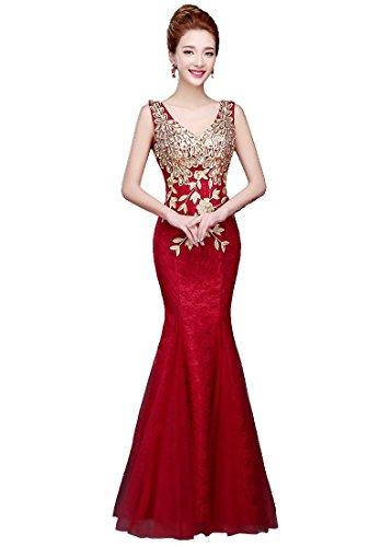 Sirena Vino emily Rojo Cordón Noche Vestidos Beauty Bordado La Rhinestone Del Maxi Partido De Corte zxUwTOS