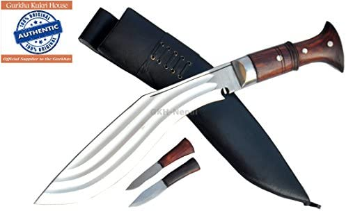 Authentic Gurkha Kukri Knife – 12 Blade Tin Chirra 3 Fullers the Beast Kukri, Handmade from Gurkha Kukri House- Handmade in Nepal by GKH-Nepal imported by Gope Corp.