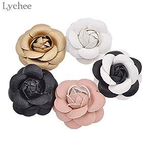 Vincent-Prestiges - 1pc Leather Camellia Decorative Flower DIY Handmade Flower Craft Wedding Party Decoration 47