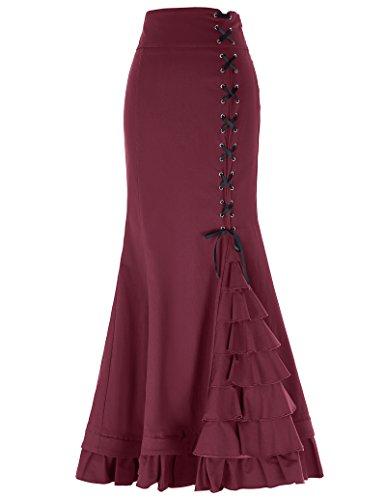 Belle Poque Victorian Gothic Ruffle Steampunk Fishtail Skirt for Party Size L Wine Red