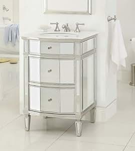 """24"""" All Mirror Petite Bathroom Sink Vanity - Ashlie Model # HF006"""