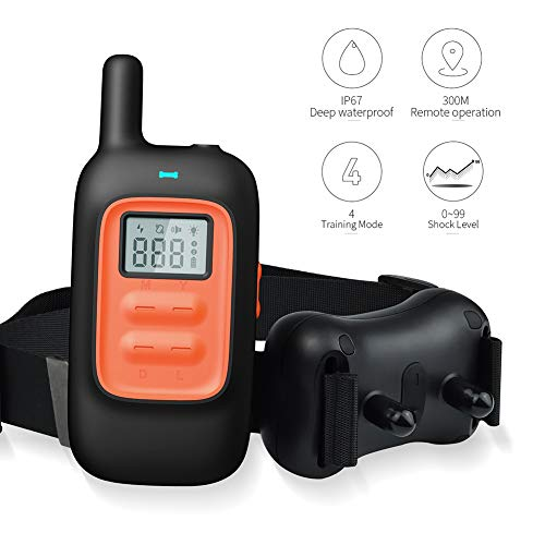 E Collar Waterproof Premium Dog Training Collar 300 yards Remote Range Dog Shock Collar Beep Light Vibration and Statistic Shock Modes By Zoneyee