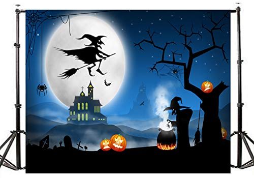 DLERGT 7x5ft Halloween Photographic Backdrop Witch Broom Bat Halloween Magic Children Party Photocall Baby Backgrounds Banner 2-062 ()