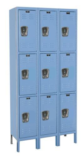 Hallowell U3288-3A-MB Premium Locker, 36'' Width x 18'' Depth x 78'' Height, Triple Tier, 3-Wide, Assembled, 707 Marine Blue by Hallowell