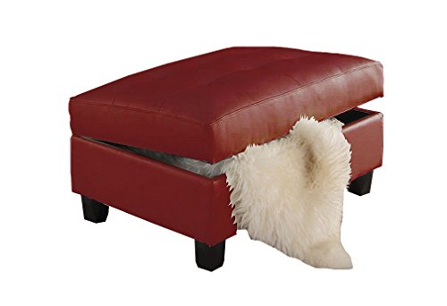 Major-Q 7051187 Red Bonded Leather Match Living Room Storage Ottoman