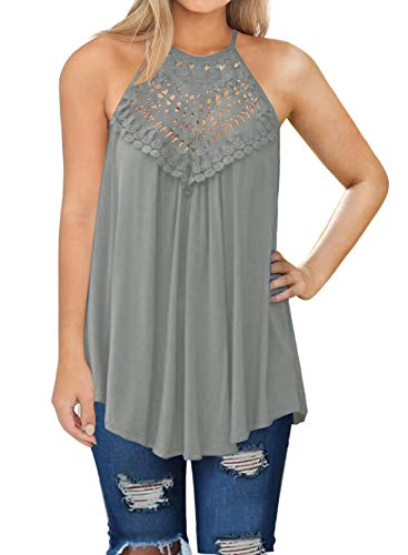 MIHOLL Womens Summer Casual Sleeveless Tops Lace Flowy Loose Shirts Tank Tops (Large, Gray)