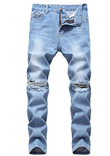 - Boy's Light Blue Ripped Distressed Skinny Fit No Stretch Slim Denim Jeans Pants 045