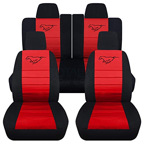 (Totally Covers Fits 2011-2014 Ford Mustang Seat Covers w Pony: Black & Red - Full Set (23 Colors) Coupe/Convertible V6/GT Solid/Split Bench 50/50 5th Gen 2012 2013)