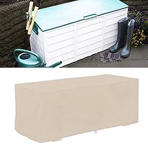 Wakects Tapa de la caja del puente, cubiertas robustas e impermeables, caja del puente exterior cubierta protectora de los bancos de almacenamiento, 123 x 62 x 55 cm (Beige)