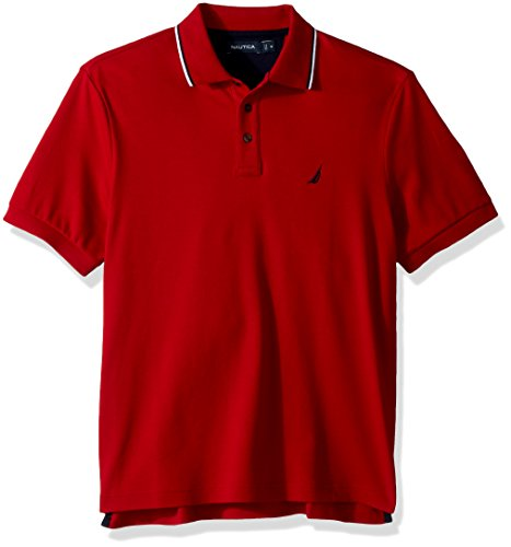 Nautica Men's Classic Fit Short Sleeve Solid Soft Cotton Polo Shirt, Red Tipped Collar, X-Large