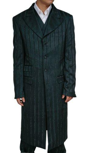 New Men's Black 3 Piece Zoot Suit with Jacket, Pants and Vest