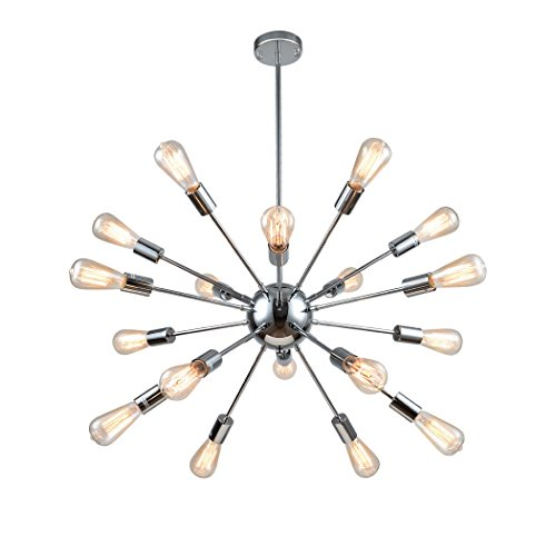 Starburst Light Fixture - mirrea Vintage Metal Large Dimmable Sputnik Chandelier with 18 Lights Chromed Finish
