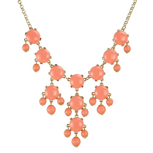 Jane Stone Orange Red Mini Bubble Necklace Cluster Jewelry Little Bubble Necklace Fashion Jewelry Bib Statement Jewellery Lovely Necklace(Fn0626GM-Orange Red)