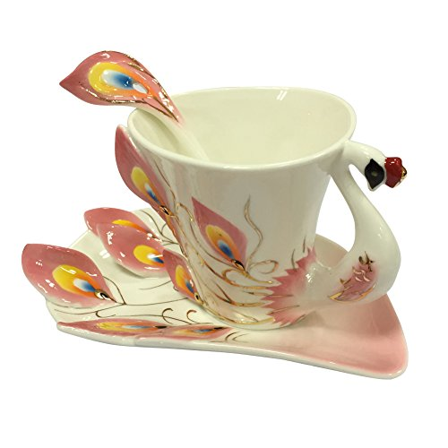 XH Porcelain Enamel Peacock Embossed Tea Coffee Mug Cup Set with 1pc Coffee Cup, 1pc Saucer, 1pc Spoon - Coffee Cloisonne