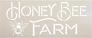 Vintage Honey Bee Farm Stencil by StudioR12 | DIY Spring Farmhouse Kitchen Home Decor | Craft & Paint Rustic Country Summer Wood Signs | Reusable Mylar Template | Select Size (13.5 x 5.5 inch)