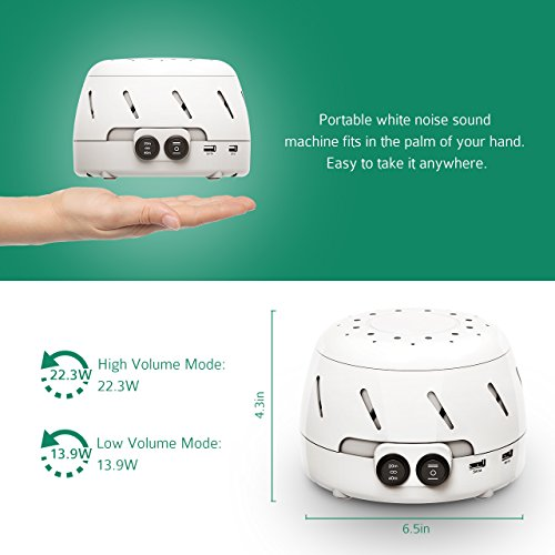 Pictek White Noise Machine with Timer Function, UL Certificated Material, 2 USB Output, Rushing Air Fan Sleep Easy Sound Therapy Conditioner Spa Relaxation Machine – White