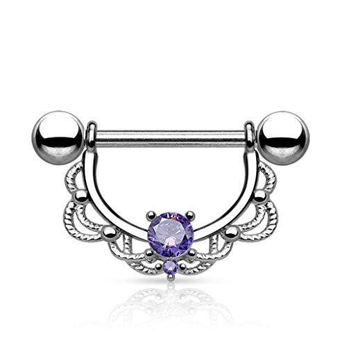 CZ Centered Fligree Drop 316L Surgical Steel Nipple Ring (Sold Individually) (Tanzanite)