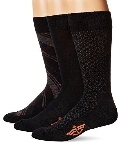 Dockers Men's 3 Pack Cushion Dress - Ultimate Fit Tartan Plaid Crew Socks, Black, Sock Size:10-13/Shoe Size: 6-12