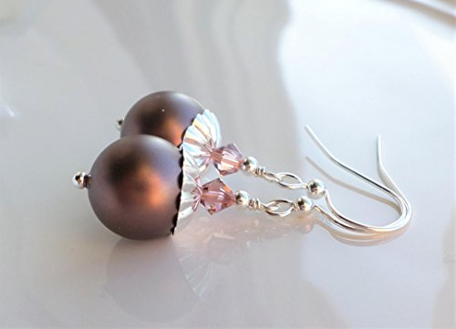 Velvet Brown Swarovski Pearl Drop Earrings ()