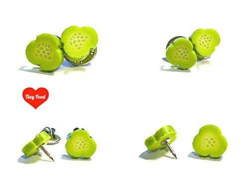 Pickle Slice Lapel Pins - Tiny Food Jewelry