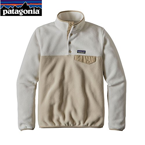 Patagonia Fleece Cap (Patagonia Women's Synchilla Lightweight Snap-T Fleece Pullover - Bleached Stone/El Cap Khaki Sz Large)