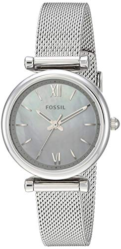 Fossil Women's Carlie Mini Quartz Watch with Stainless-Steel Strap, Silver, 12 (Model: ES4432)