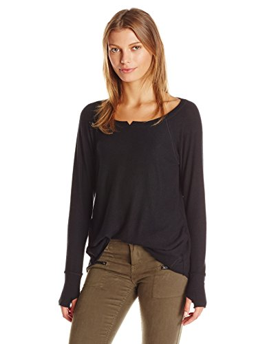 Buy now Michael Stars Women's Madison Brushed Jersey Hi Low with Thumbholes, Black,