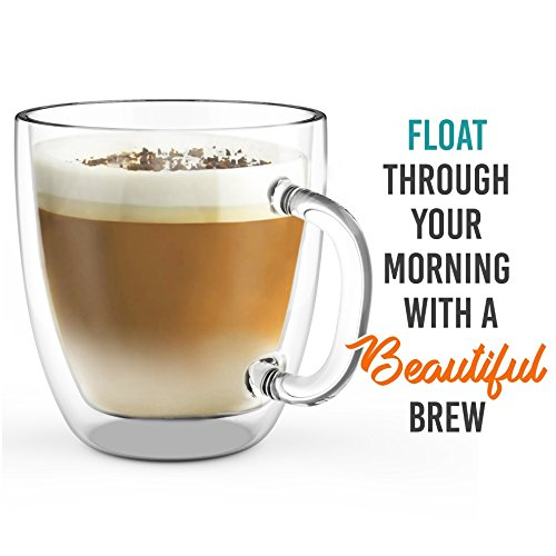 Review Large Coffee Mug, Double Wall Glass 16 oz – Dishwasher & Microwave Safe – Clear, Unique & Insulated with Handle, by Elixir Glassware