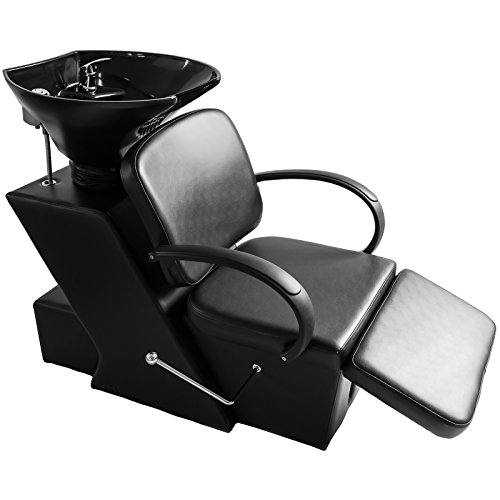 ARTIST HAND Porcelain Backwash Salon Shampoo Station W/ Adjustable Footrest Ceramic Bowl Unit W/Rubber Headrest Barber Chair All Purpose Hydraulic Recline Barber Chair Salon Beauty Spa Equipment