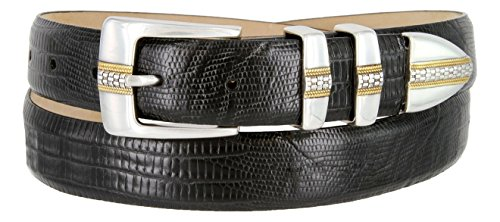 Milan Italian Calfskin Leather Designer Dress and Golf Belts for Men (Lizard Black, 42) (Buckle Black Calfskin Belt)