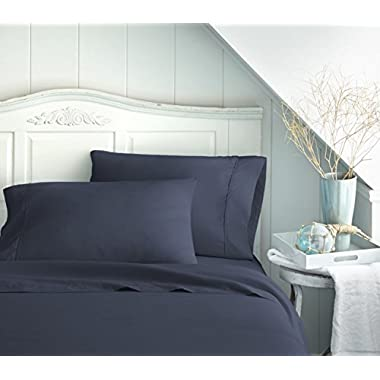 Bed Sheet Set by Becky Cameron Bedding - 16  Deep Pocket Sheets - 1800 Series Brushed Microfiber 4 Piece Set - California King, Navy